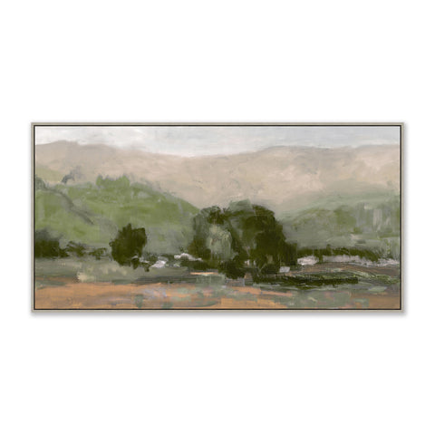 painting of a mountain valley in a grey frame