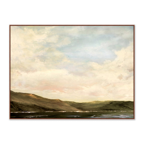 painting of hillside next to a lake at dusk in wooden frame