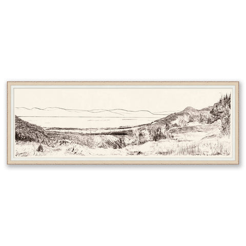 landscape sketch of mountains and valley in an off-white frame with small white mat