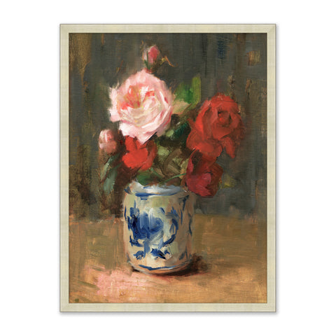colorful painting of rose bouquet in vase on table in wooden frame