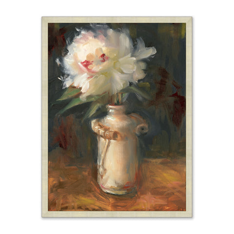 colorful painting of white flower bouquet in vase on table in wooden frame