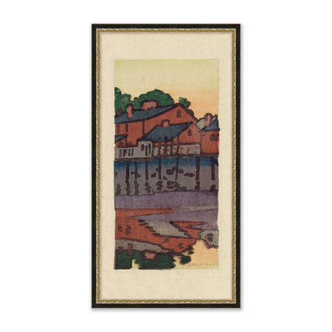 framed painting of a colorful valley village next to a lake