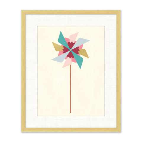 colorful graphic art of a pinwheel in natural wood frame