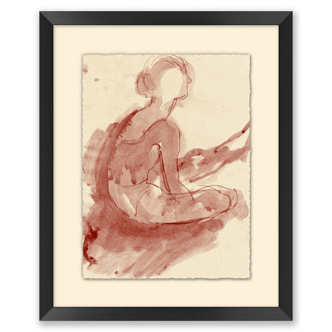 framed watercolor sketch of a dancer in a black frame