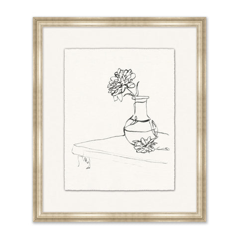 framed sketch of bouquet of flowers on a table