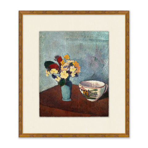 painting of a bouquet of flower in a vase next to a tea cup in a gold frame with a cream mat