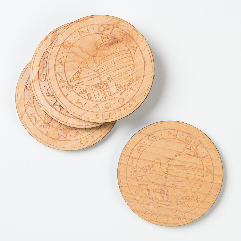 WOODEN COASTER SET WITH MAGNOLIA SILOS SEAL