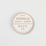 WHITE PAINTED WOODEN COASTER WITH MAGNOLIA MARKET AND GARDEN SEAL