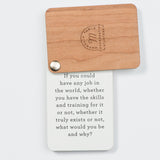 wooden pack of cards opened to first conversation starter card