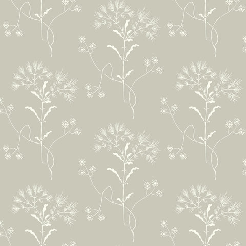 white wildflower pattern on grey wallpaper