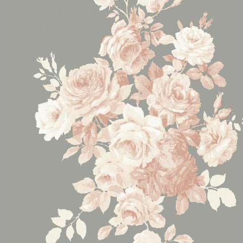 blush pink rose pattern on grey wallpaper