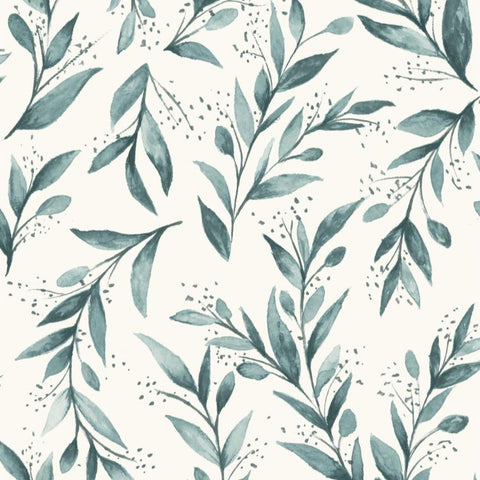 teal olive branch pattern on white wallpaper