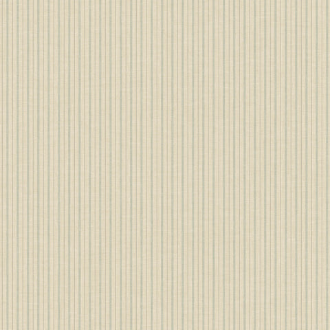 cream and light blue ticking stripe pattern wallpaper
