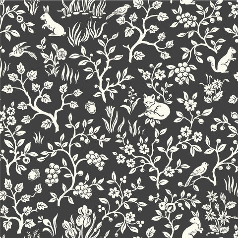 black and white woodland sketch patterned wallpaper