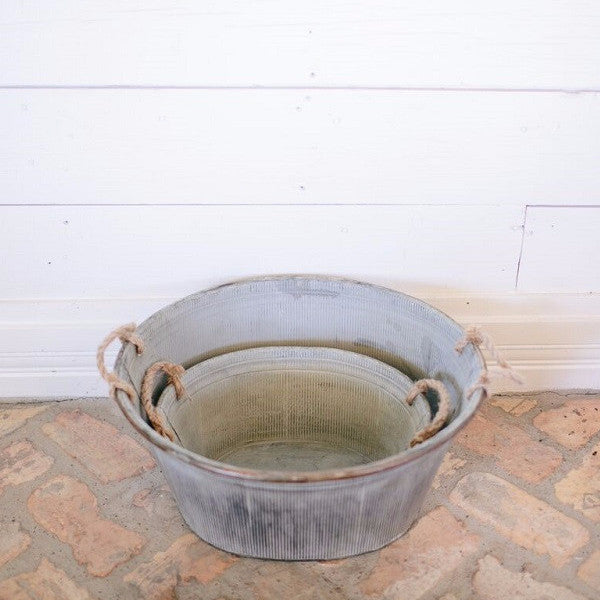 Round Metal Bin with Rope Handles