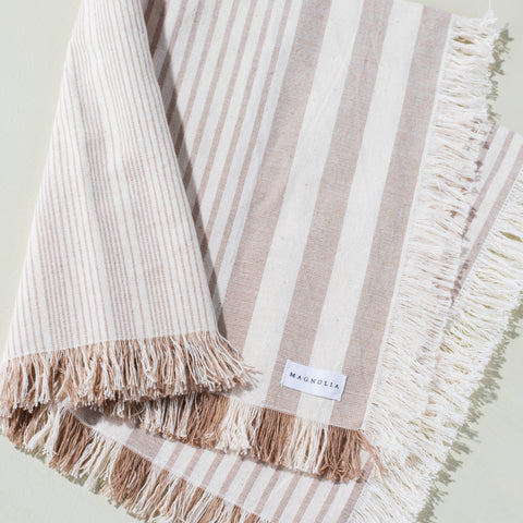 natural and cream striped frayed cotton and linen dinner napkin