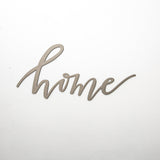 "metal script wall expression that says ""home"""