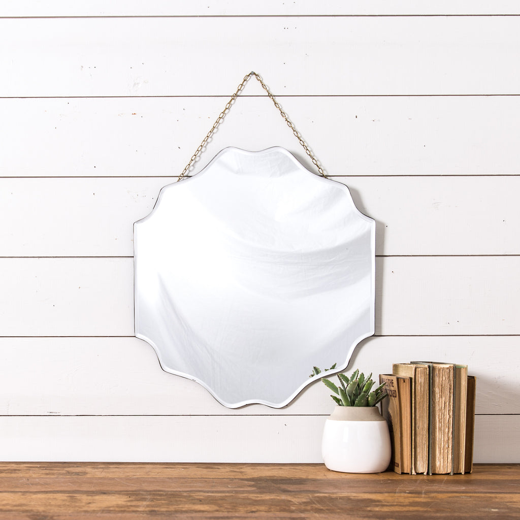 Hanging beveled mirror magnolia chip joanna gaines for Hanging mirror