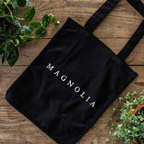 Black Magnolia Canvas Tote