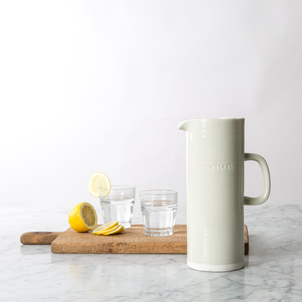 "Embossed ""Water"" Grey Pitcher"