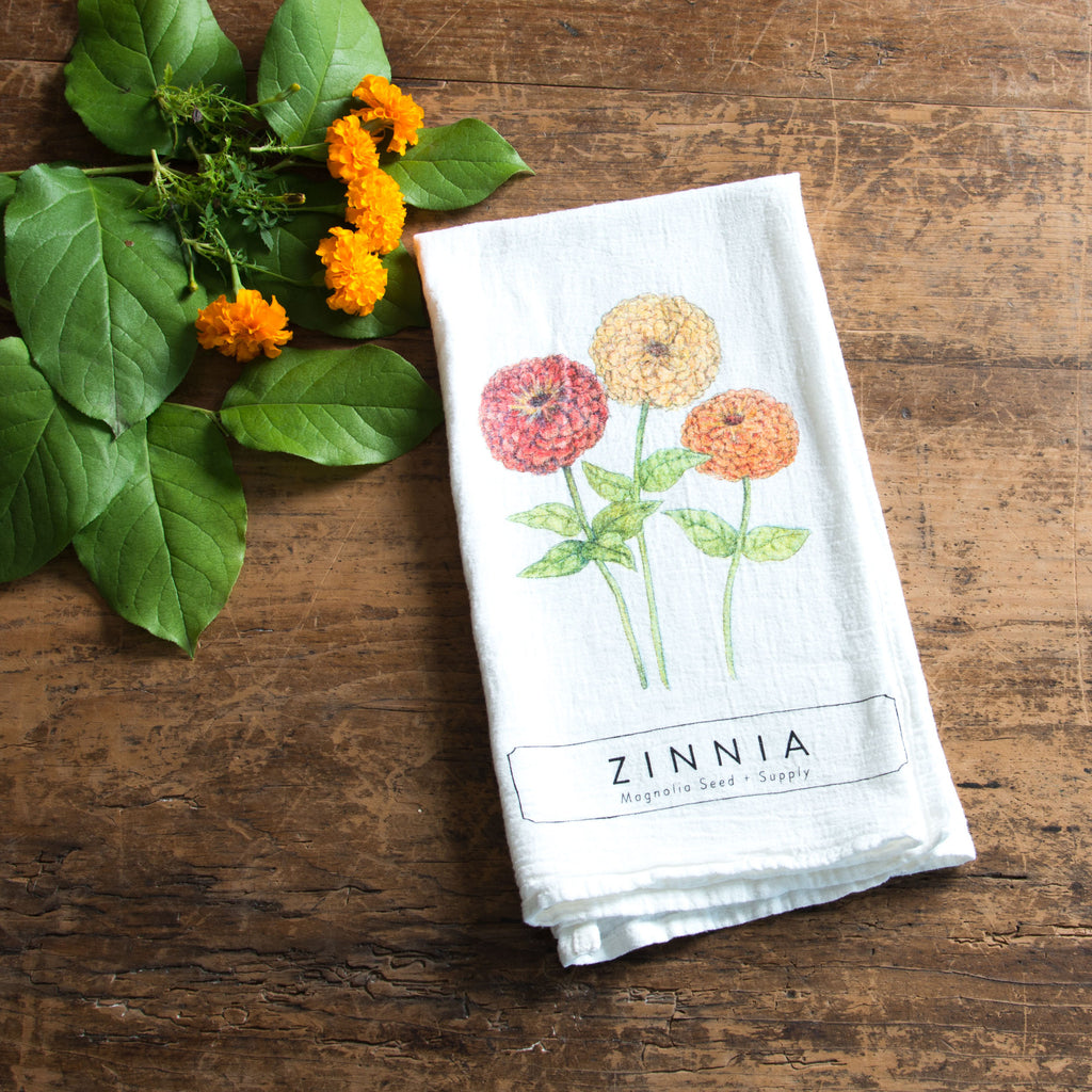 magnolia garden plant graphic tea towel