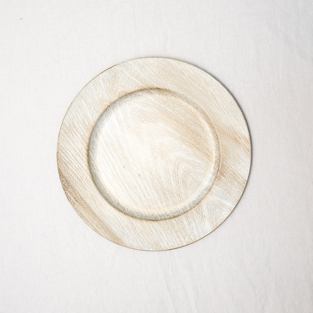 Cream Woodgrain Charger