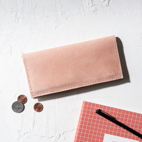 blush pink leather snap closure women's wallet