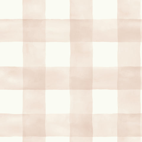 light pink and white watercolor buffalo check wallpaper