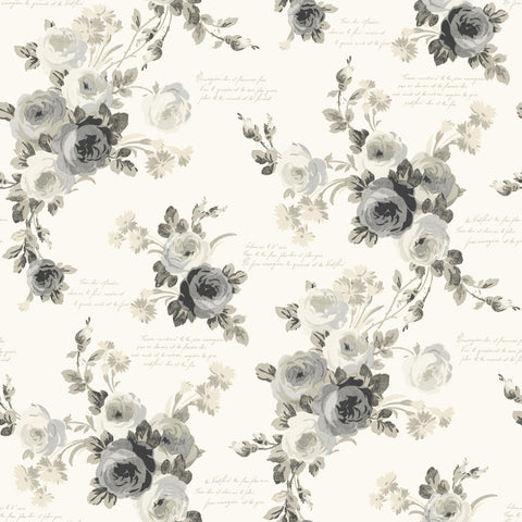 grey and cream rose watercolor paintings wallpaper
