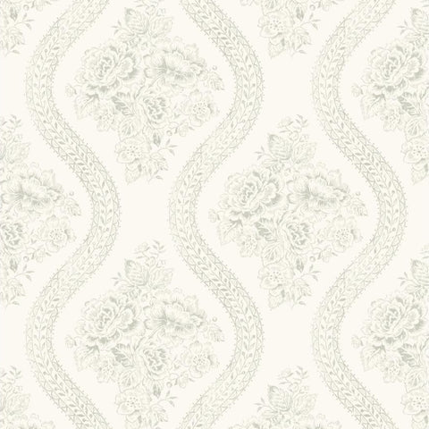light grey floral pattern on white wallpaper