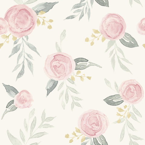 red-pink watercolor rose pattern on white wallpaper