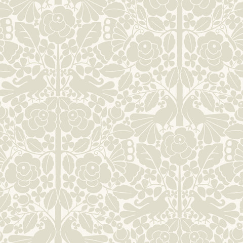 beige and white floral and bird pattern wallpaper