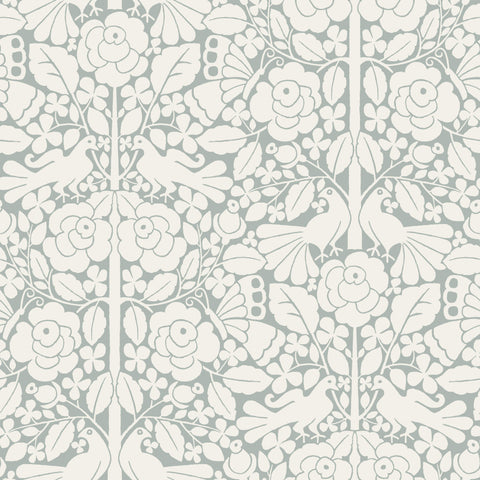 grey and white floral and bird pattern wallpaper