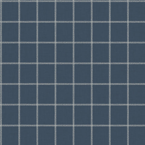 white linen check pattern on navy wallpaper