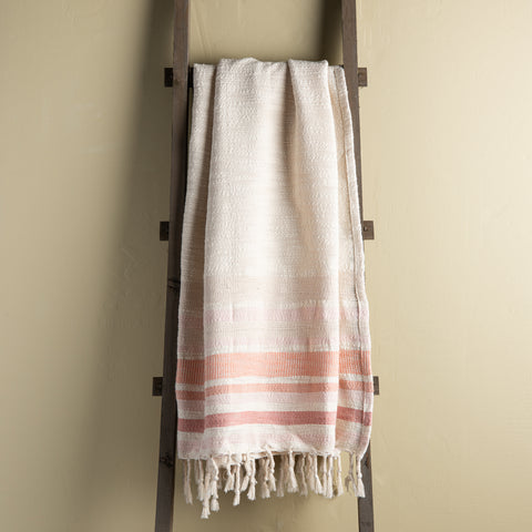 beige blush terracotta striped throw with tassels