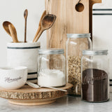 magnolia glass measuring jars with embossed numbers with metal lid