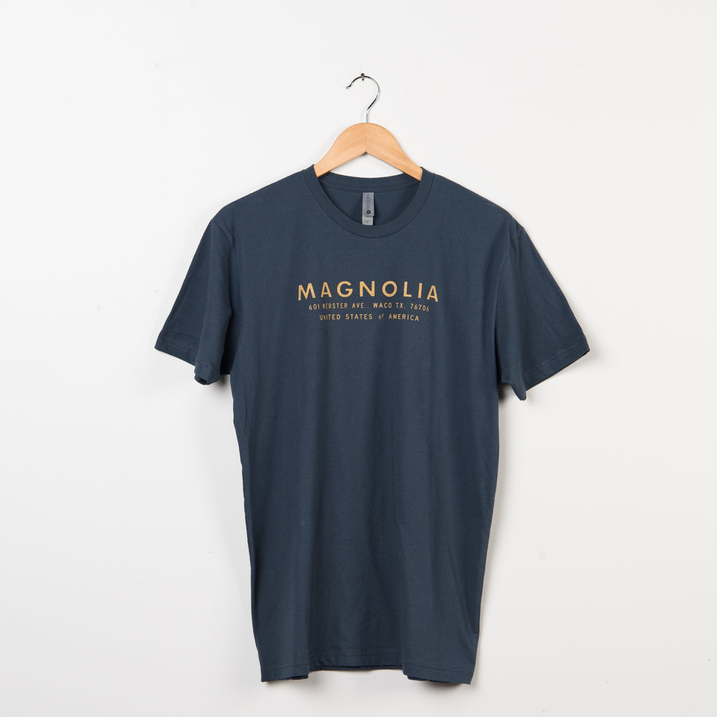navy magnolia industrial shirt with gold writing