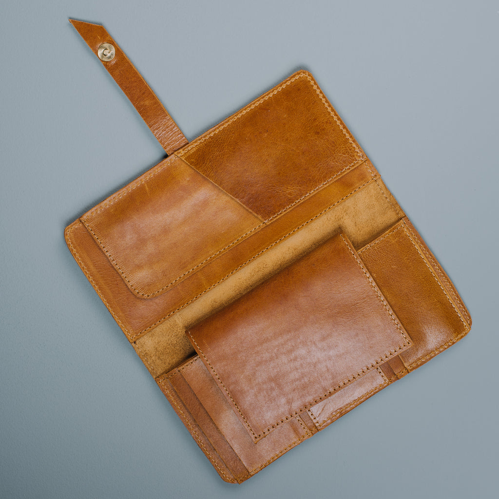 brown leather wallet with passport holder included