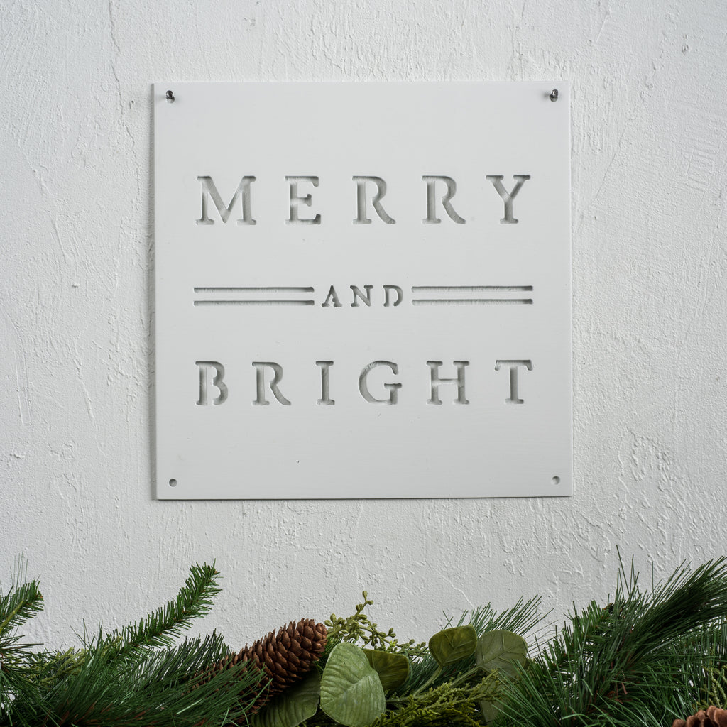 Merry & Bright Christmas Sign Magnolia Chip & Joanna Gaines