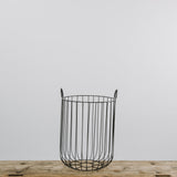 tall black wire basket with handles
