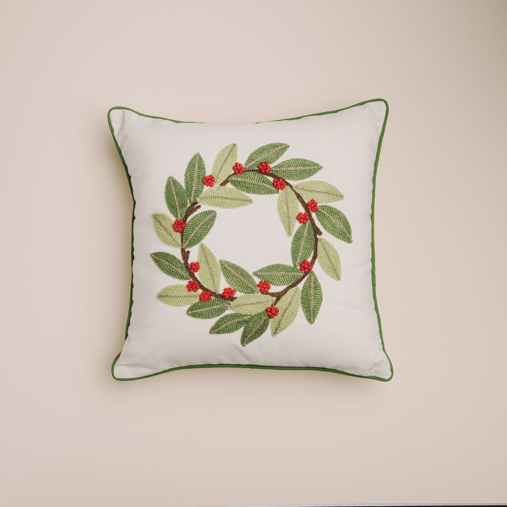Embroidered Laurel Wreath Pillow Magnolia Christmas Chip Joanna Gaines