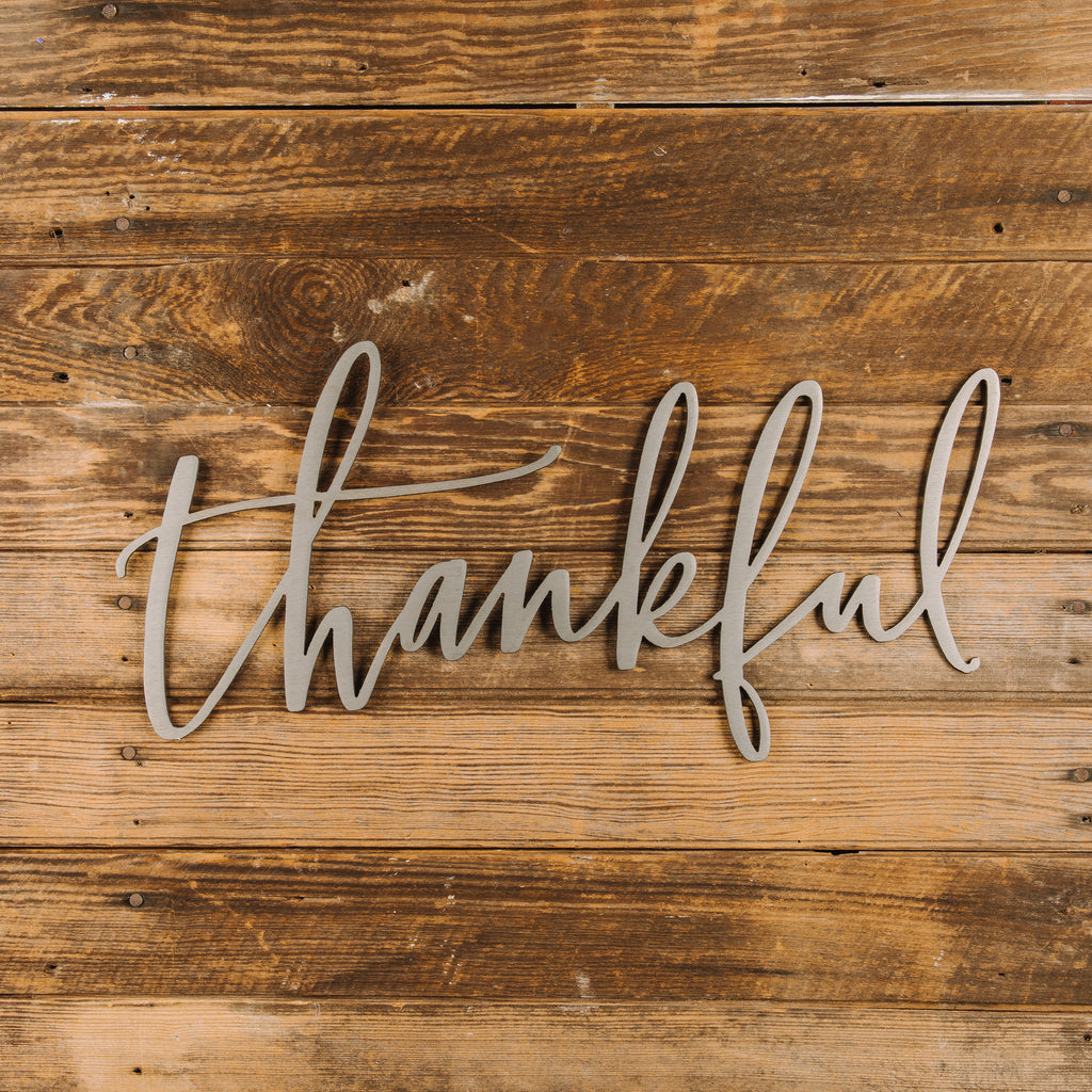 thankful script sign magnolia