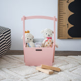 pink wooden wishing well shaped basket