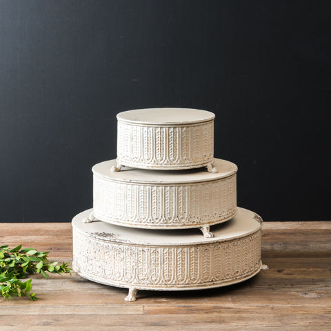 White Embossed Cake Stand