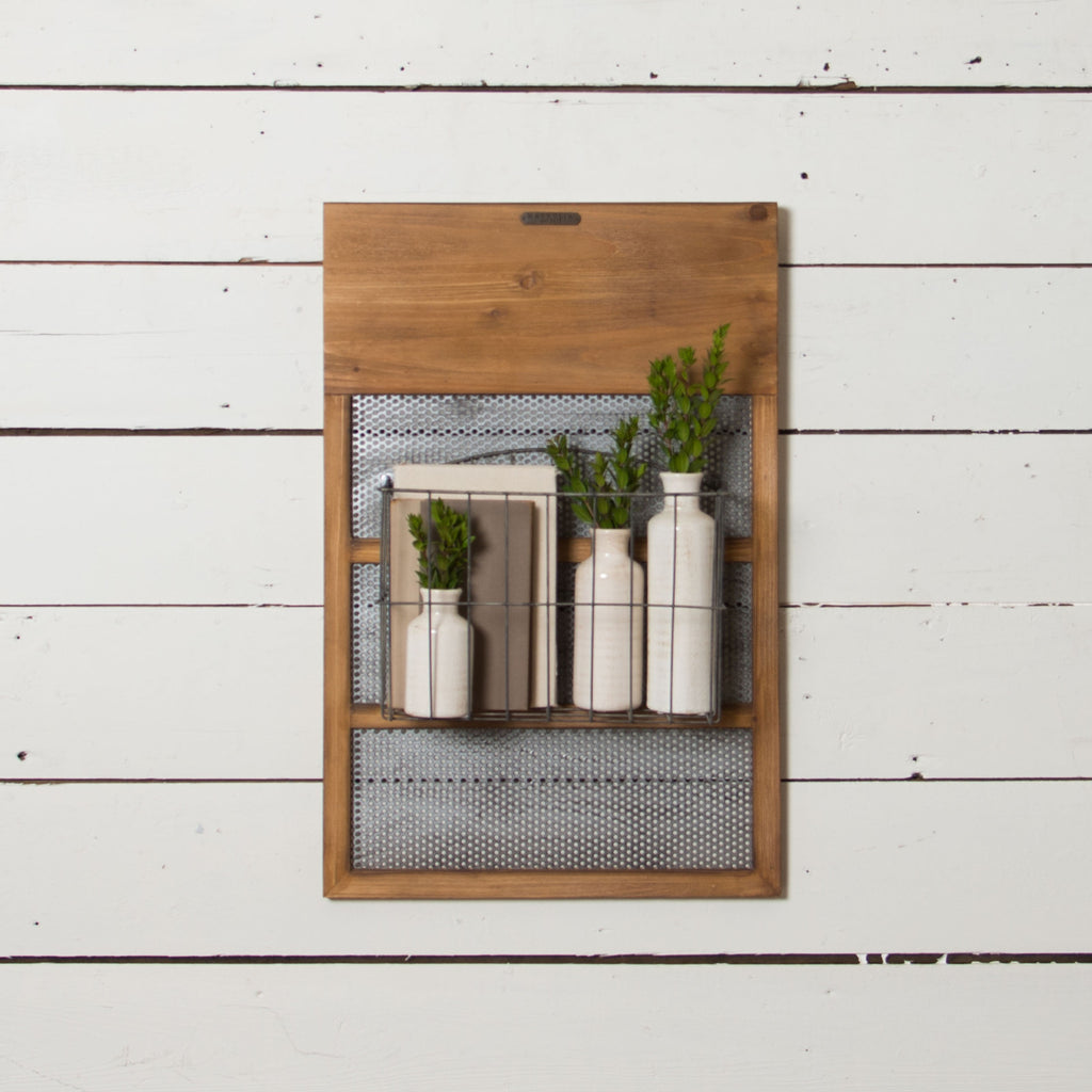 Wood & Metal Mounted Basket