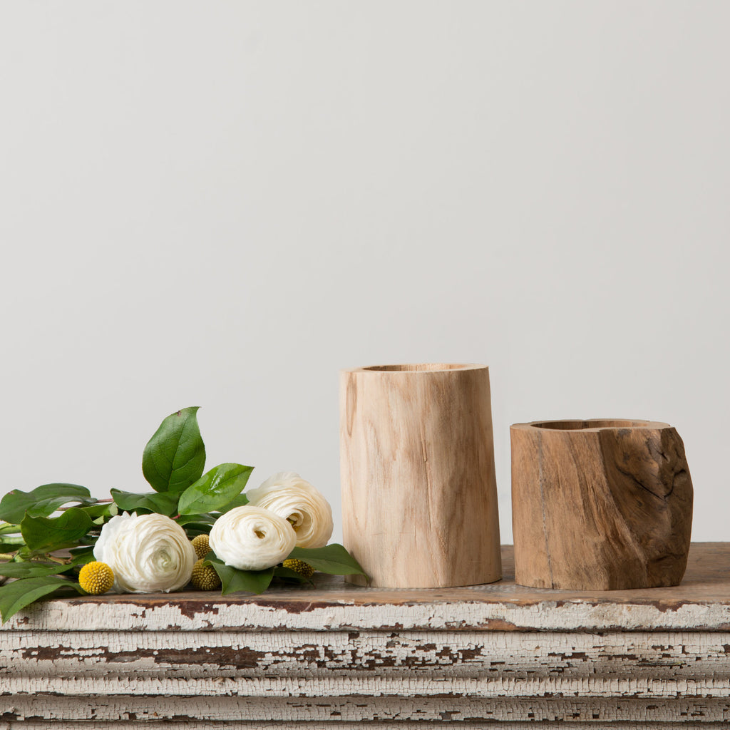 carved wooden log vase