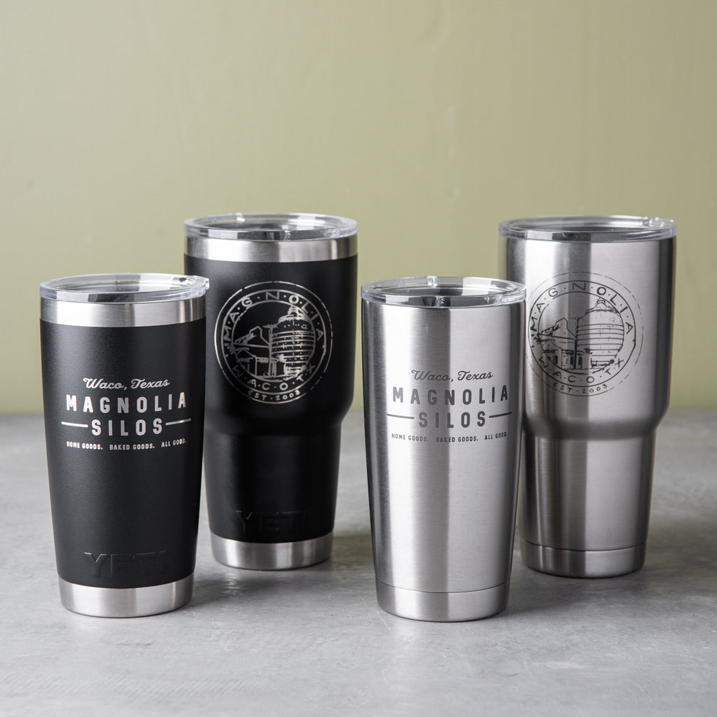 double wall stainless steel tumblers with Magnolia logos