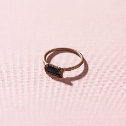 tourmaline jewel stacking copper ring