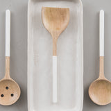 mango wood with white handle flat edge spoon