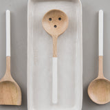 white handled mango wood slotted spoon